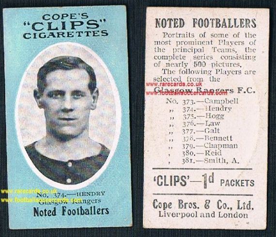 1910 Glasgow Rangers 374 Hendry Cope Clips cigarettes noted footballers